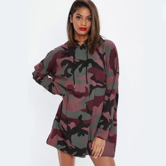 1448f110 Missguided Dresses   Womens New Burgundy Camo Sweatshirt Dress 4 ...